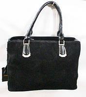 Черная женская сумка из натуральной кожи размер31х22 см, фото 1
