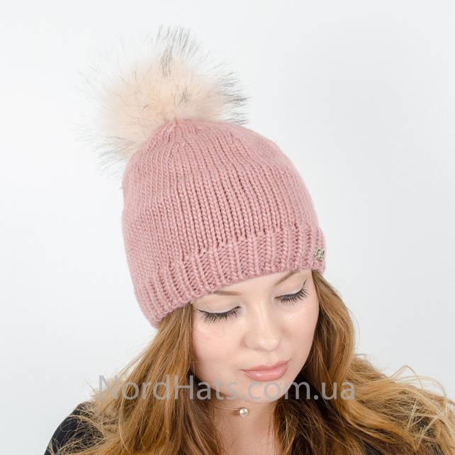 Женская шапка с помпоном  (Пудра)