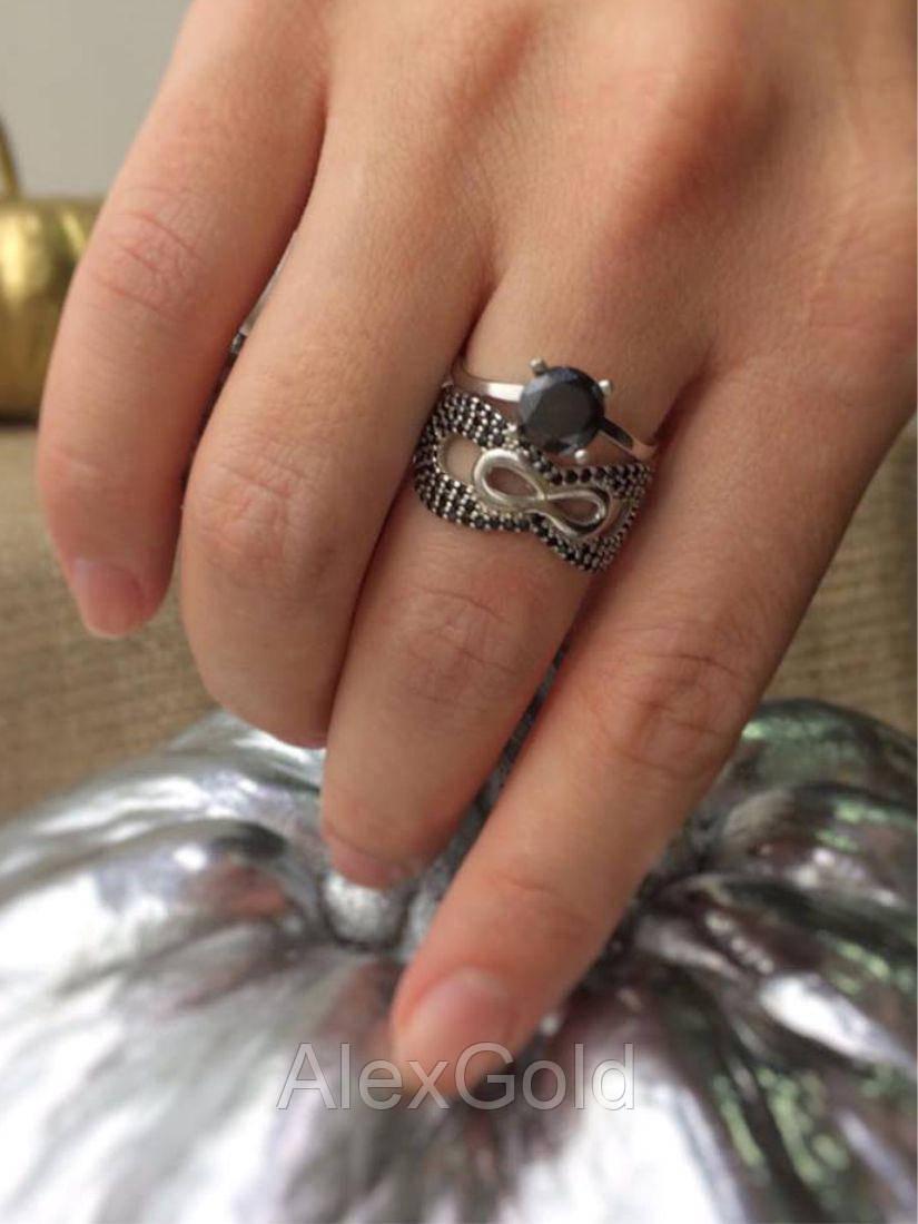 Серебряное кольцо двойное бесконечность 2 в 1