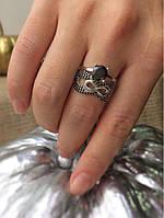 Серебряное кольцо двойное бесконечность 2 в 1, фото 1