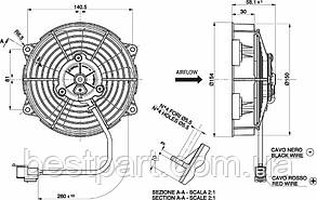 Вентилятор Spal 24V, вытяжной, VA39-A101-45A