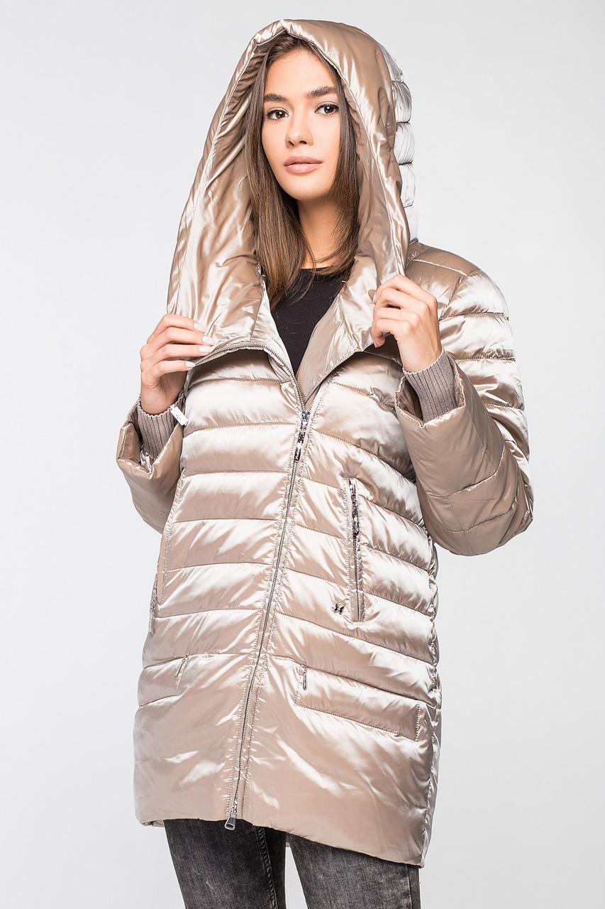 Модная и теплая женская курточка BTF 1818 (цвет шампанского),50 размера