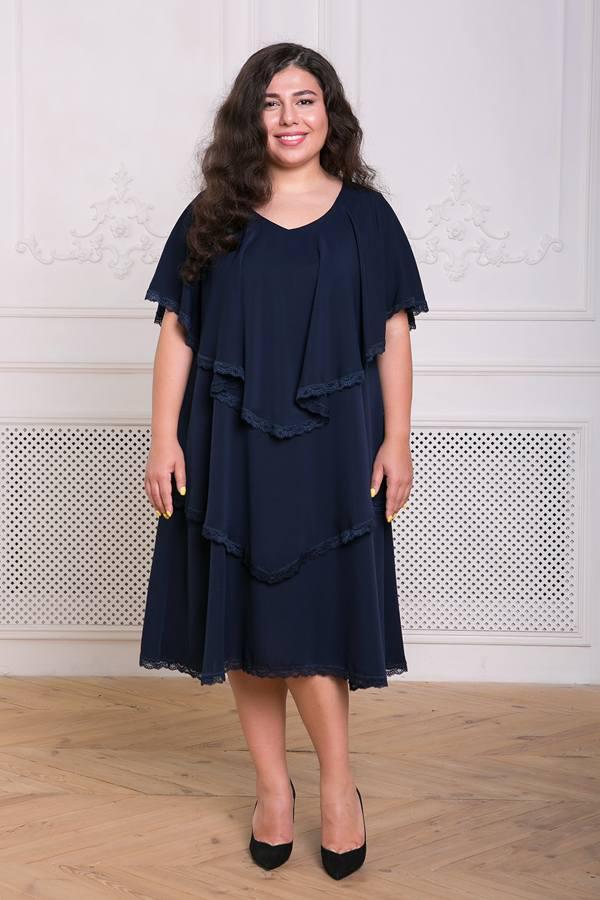 Платье с оборками Девис темно-синее(54-60)