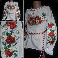"""Белая вышиванка """"Полевые цветы"""" для девочки, поплин, рост 120-146 см., 270/230 (цена за 1 шт. + 40 гр.), фото 1"""