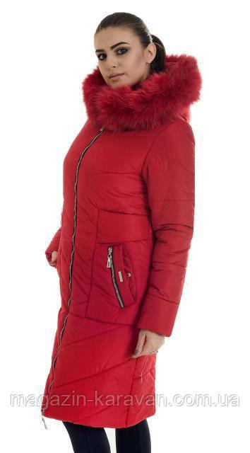 Модный женский пуховик ЛД 34 красный песец