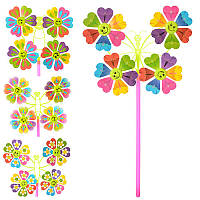 Ветрячок M 0809 (200шт) вертушка,разм мал,цветок,диам.22,5см,палоч28см,микс видов,в кульке,16-16-2см