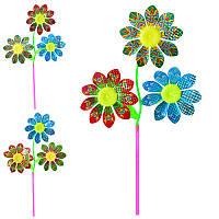 Ветрячок M 0803 (120шт) размер больш61см,диам16,5см,палочка27,5см,цветок,фольга,3вид,кул,20-25-3см