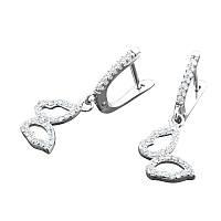 Серебряные серьги Бабочки с камнями