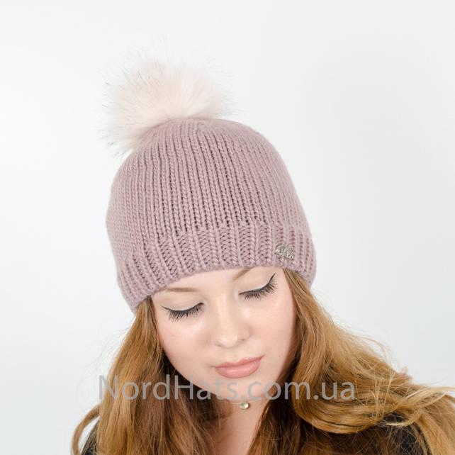 Женская шапка с помпоном  (Какао)