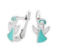 Серебряные серьги Ангелочки с эмалью, фото 1