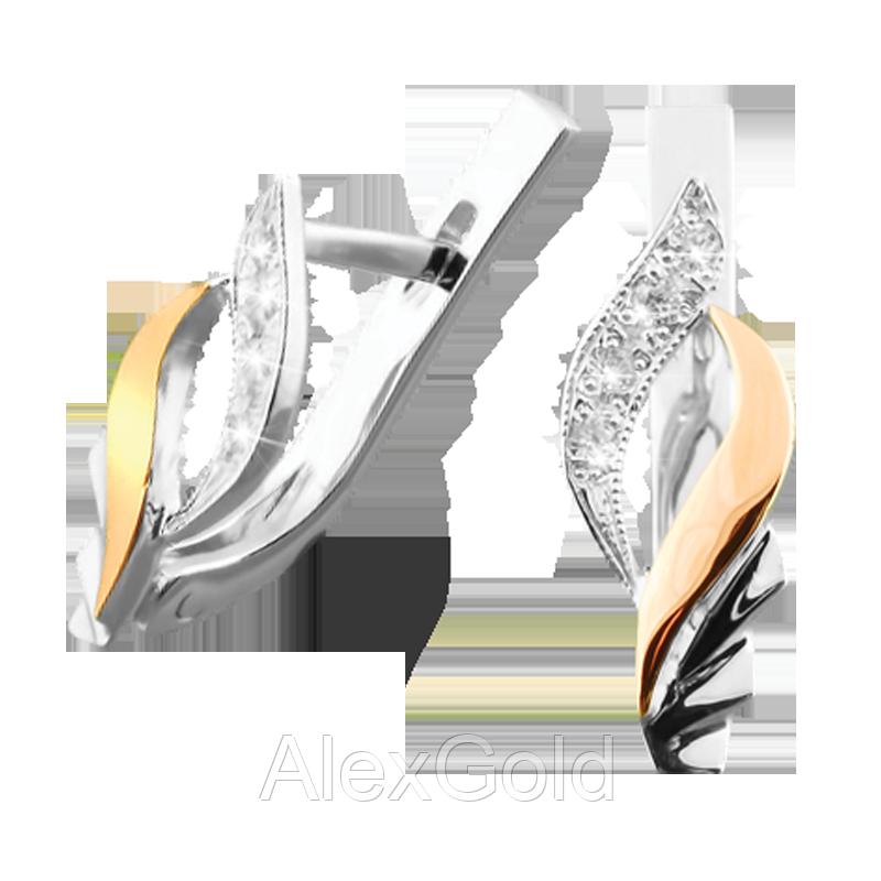 Серебряные серьги с золотом