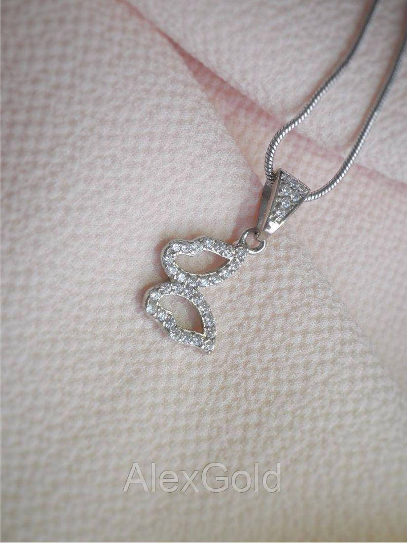 Кулон серебряный с камнями Бабочка