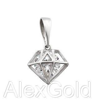 Кулон серебряный с одним камнем