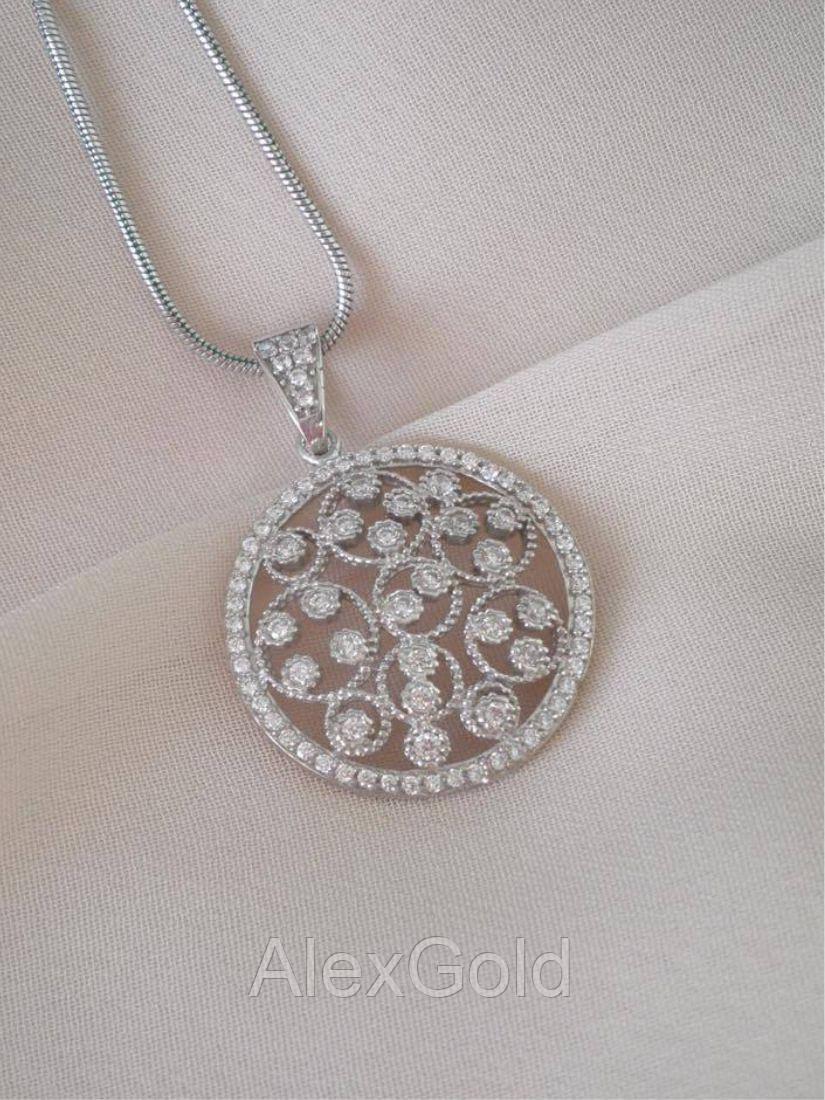 Кулон серебряный круглый с камнями
