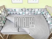 Детская постель и мягкие бортики в кроватку 120х60 см наволочка простынь пододеяльник и защита 3991 Бирюзовый, фото 1
