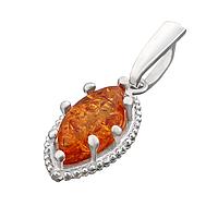Кулон серебряный с янтарем