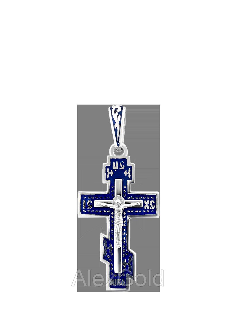 Крестик серебряный с эмалью
