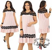 Шелковое платье с сеткой и кружевом (разные цвета) 48-54 рр.