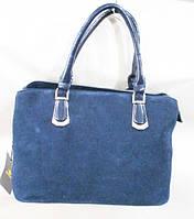 Синяя женская сумка из натуральной кожи размер31х22 см, фото 1