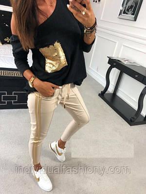 Костюм двойка лосины и футболка с пайетками