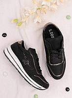 Черные кроссовки женские со звездой 25827, фото 1