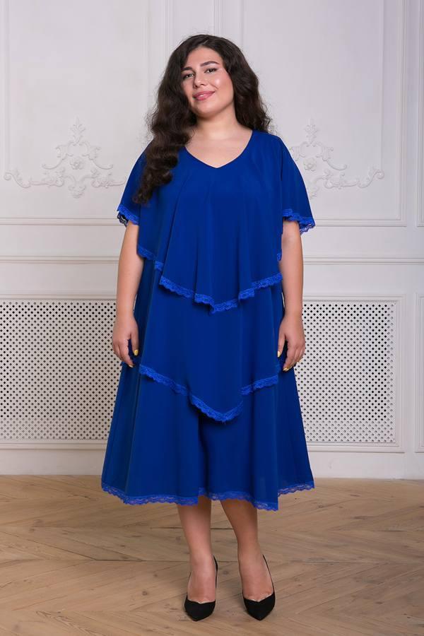 Платье с оборками Девис электрик(54-60)