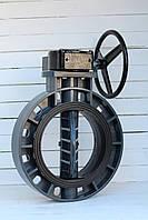 Затвор поворотный дисковый ПВХ Ду 250 (ручной-редуктор) Runke, фото 1