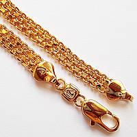 Браслет позолоченный, длина 17 см, ширина 6 мм. Ювелирная бижутерия Xuping Jewelry, позолота 18К., фото 1