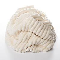 Плюш в полоску Stripes, цвет слоновой кости с тёплым оттенком.