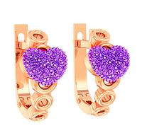 Детские золотые серьги с фиолетовыми фианитами Фиона
