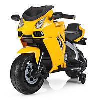 Мотоцикл M 3637EL-6 (1шт) 1мотор45W,аккум12V7AH,колесаEVA,кож.сид,ручка газа,желт.