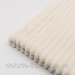"""Отрез плюша в полоску """"Stripes"""" размером 100*80 см цвета слоновой кости с тёплым оттенком"""