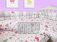 Детская постель и мягкие бортики в кроватку 120х60 см наволочка простынь пододеяльник и защита 3991 Малиновый
