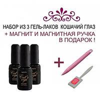 Набор из гель-лаков Naomi Кошачий Глаз + Магнит и магнитная ручка