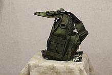 Однолямочный городской рюкзак Silver Knight на 9 литров с системой M.O.L.L.E Olive (098 олива), фото 2