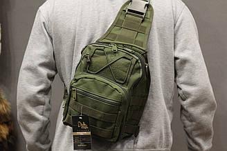 Однолямочный городской рюкзак Silver Knight на 9 литров с системой M.O.L.L.E Olive (098 олива)