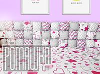 Защита (мягкие бортики-подушечки) в детскую кроватку для новорожденного 3991 Малиновый