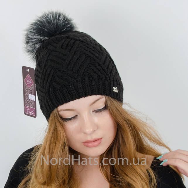 Женская шапка с помпоном  (Черный)