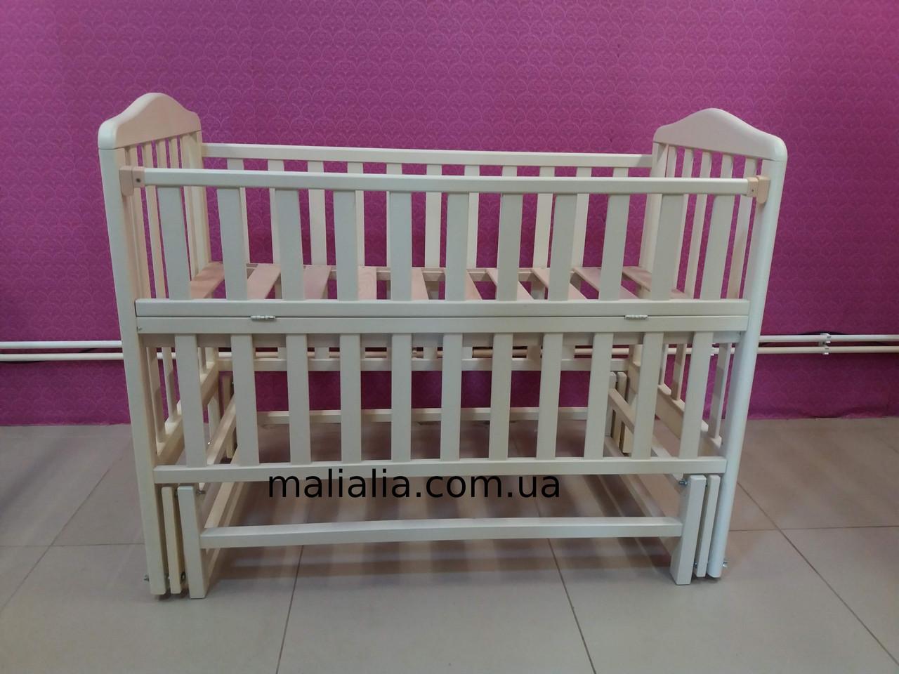 Кроватка детская из натурального бука маятниковый механизм Ваниль