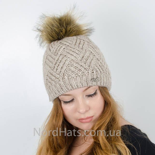 Женская шапка с помпоном  (Лен)