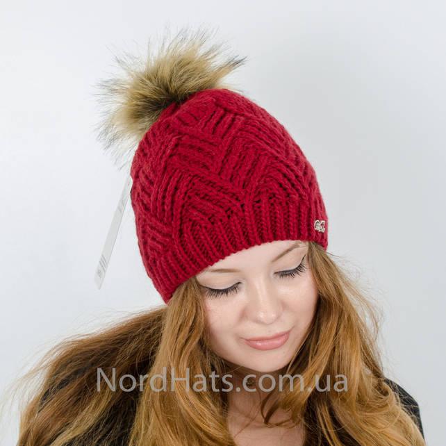 Женская шапка с помпоном  (Вишня)