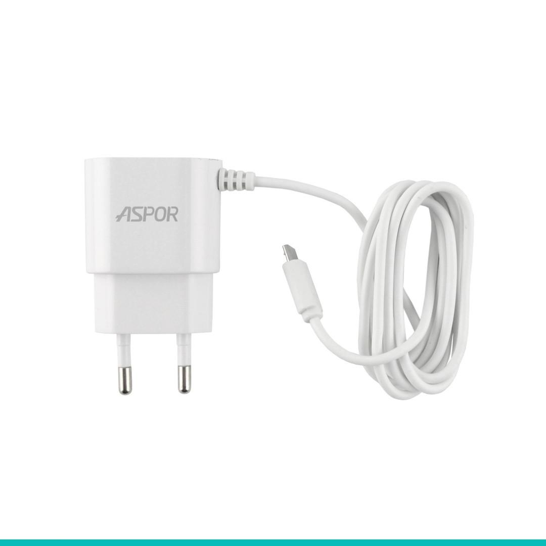 Сетевое зарядное устройство Aspor A802P с LED подсветкой + кабель microUSB 2,4A