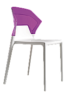 Стул Papatya Ego-S белое сиденье, верх прозрачно-пурпурный, фото 1
