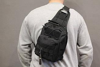 Однолямочный городской рюкзак Silver Knight на 9 литров с системой M.O.L.L.E Black (098 черный)