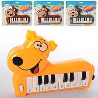 Пианино 889-36-7-40-1-3-7 (108шт) животные, муз,звук, 6видов, на бат-ке, на листе, 24-19,5-3см