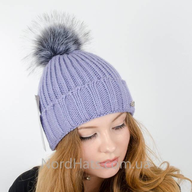 Женская шапка с помпоном  (Лаванда)