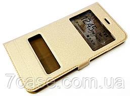 Чехол книжка с окошками momax для iPhone 7 Plus золотой