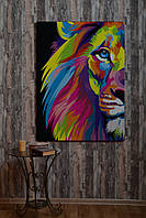 Картина Fisher Gifts 140х100 Цветной лев (эко-кожа)