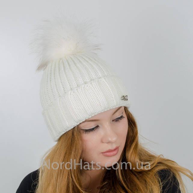 Женская шапка с помпоном  (Белый)