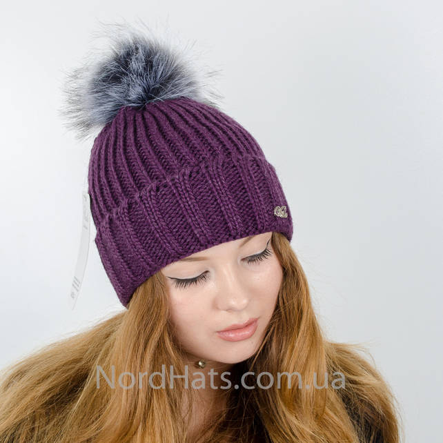 Женская шапка с помпоном  (Фиолетовый)